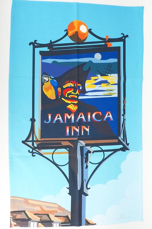 Jamaica Inn Sign Blue Tea Towel