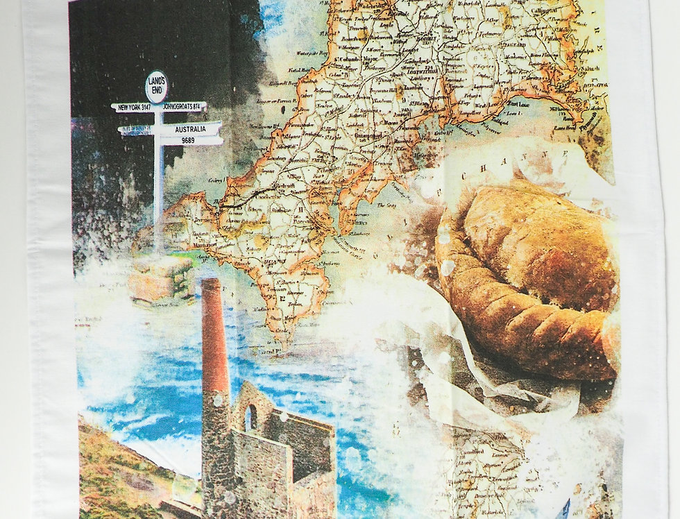 Cornwall Collage & Map Tea Towel