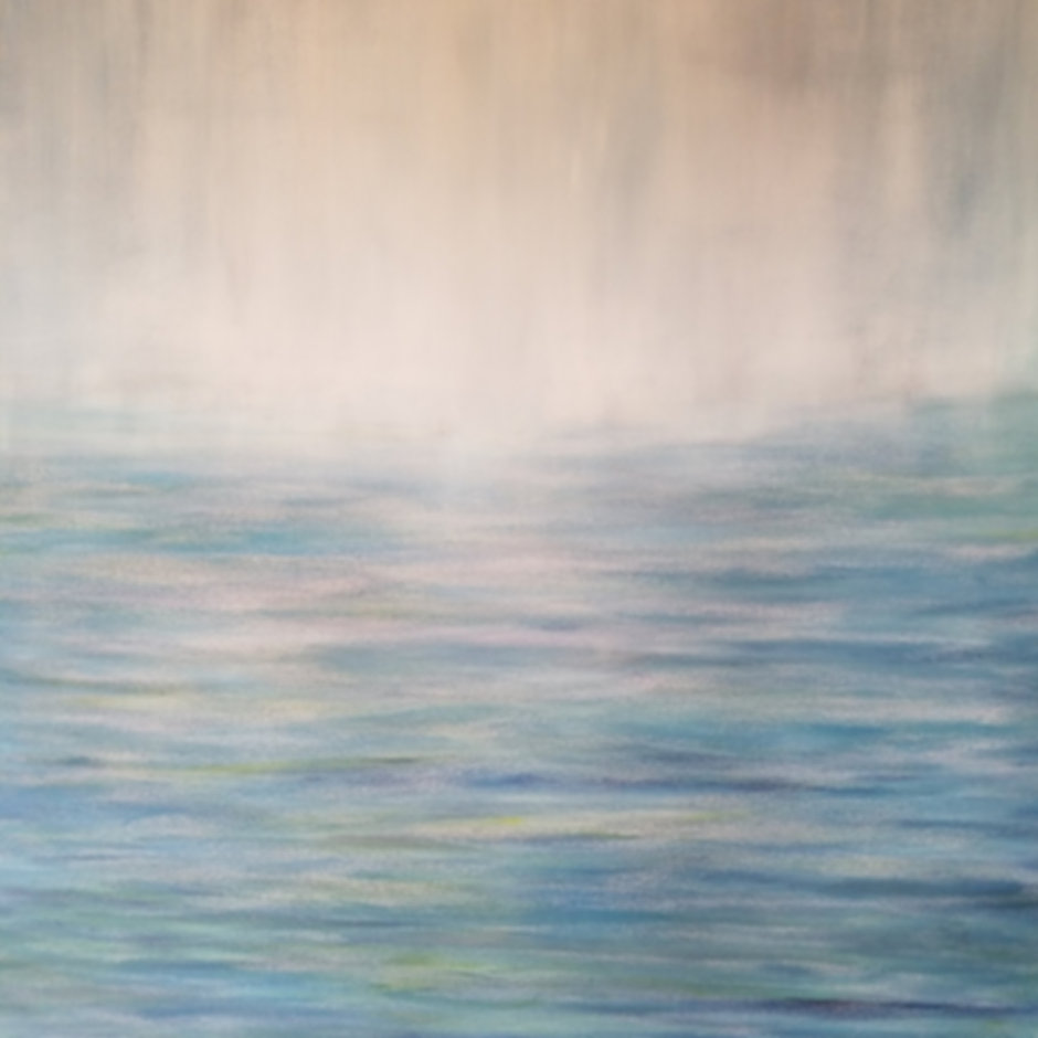 oil painting, blue and green, water and mist