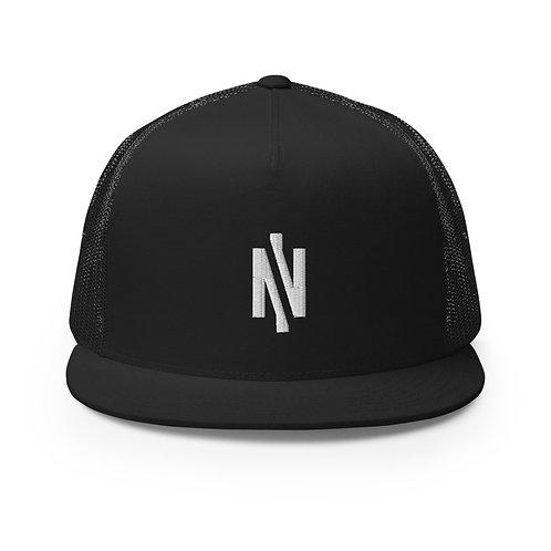 Embroidered Logo Trucker Cap Black