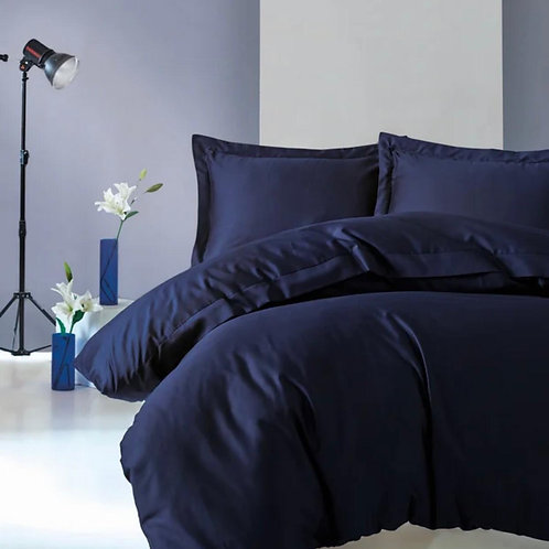 Kingsize cotton box duvet set - Dark Blue
