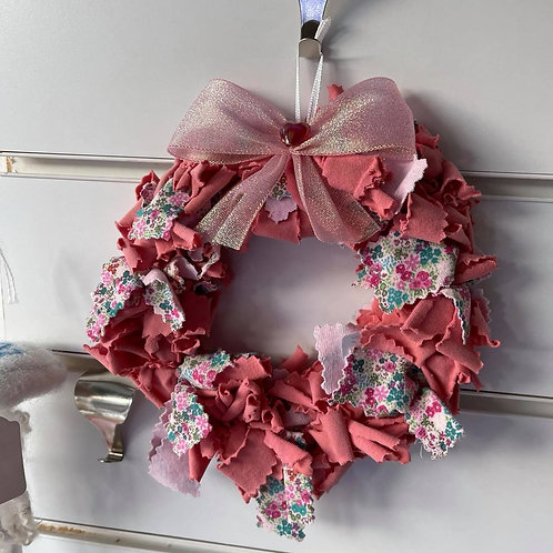 by Tonya - Pink Wreath with Bow & Glass Bead