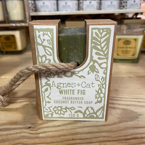 Agnes+Cat Soap on a Rope White Fig