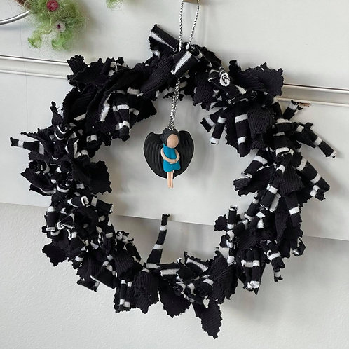 by Tonya - Black & White Wreath with Guardian Angel