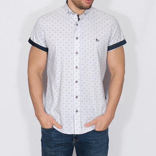 White geometric shirt