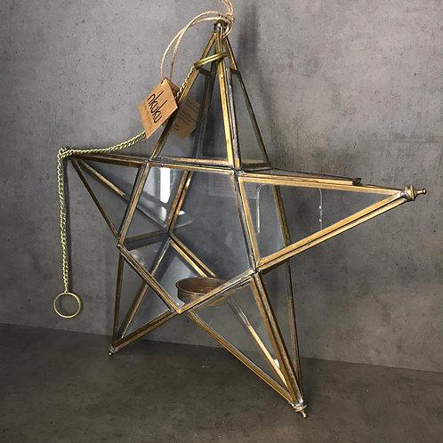 Antique Brass Glass Star - Large