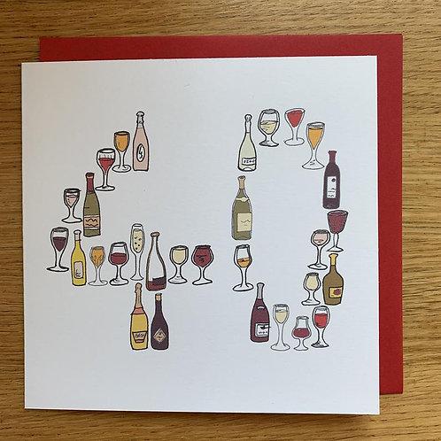 40th Birthday Card - Wine