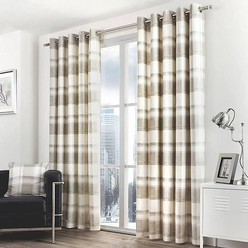 Balmoral Check Curtains - Natural