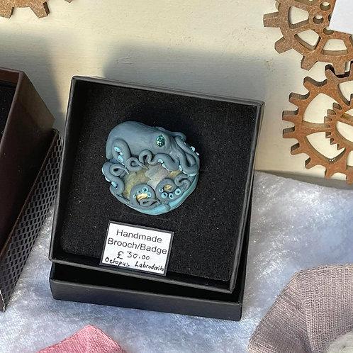 by Tonya - Handmade Brooch - Octopus Labrodorito