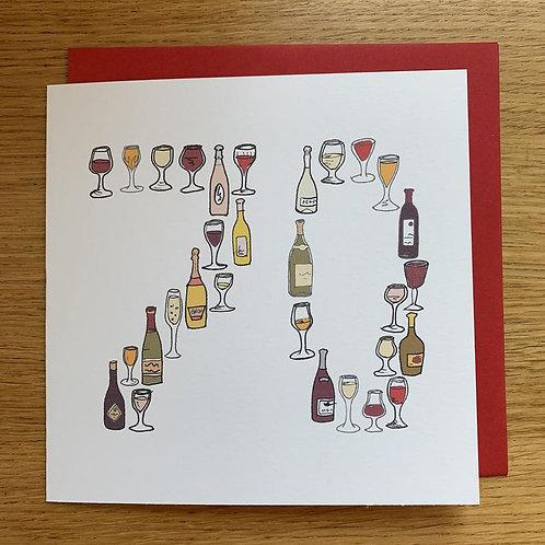 70th Birthday Card - Wine