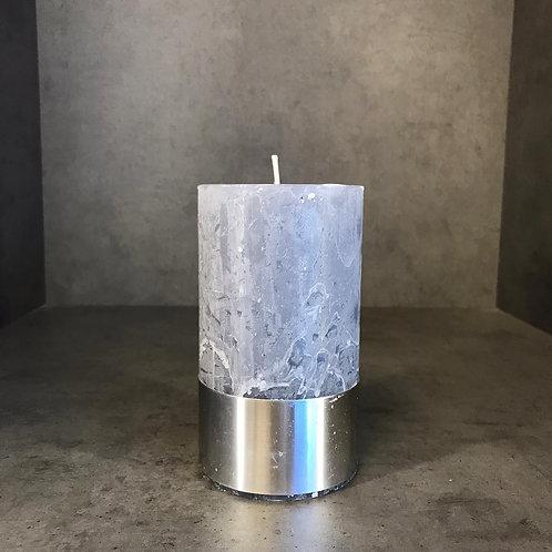 Light Grey Rustica Pillar Candle