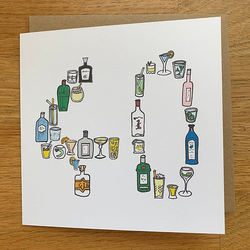 40th Birthday Card - Gin
