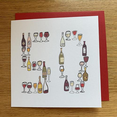 50th Birthday Card - Wine