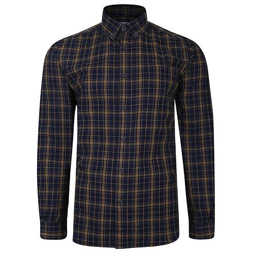 Long Sleeved checked shirt Gold and Indigo