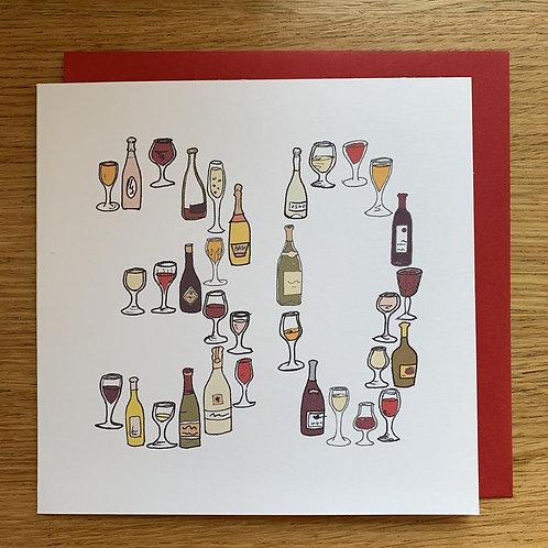 30th Birthday Card - Wine