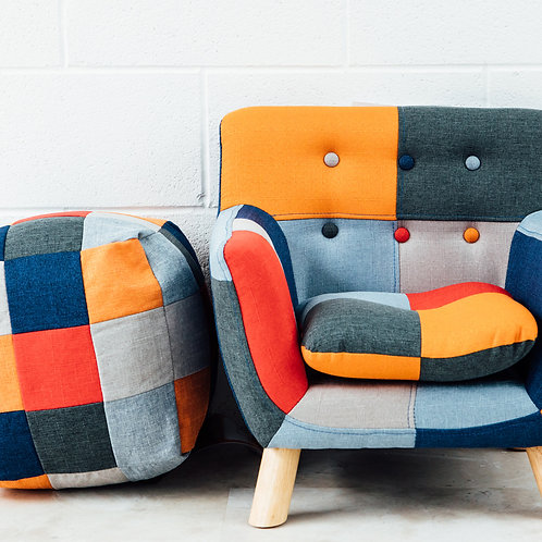 Helwig Patchwork Chair with footstool