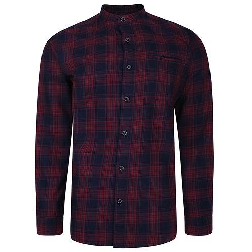 Long sleeved grandad collar checked shirt. Red & Navy