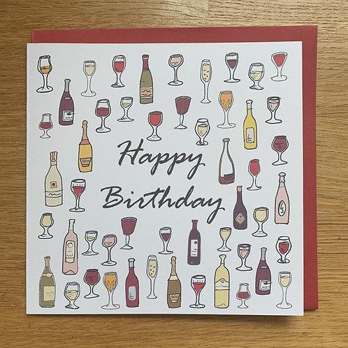 Happy Birthday Card - Wine