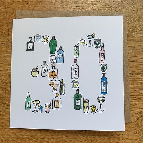 30th Birthday Card - Gin