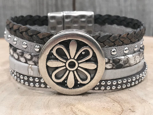 Multi Grey leather strand bracelet with silver floral slider and magnet clasp