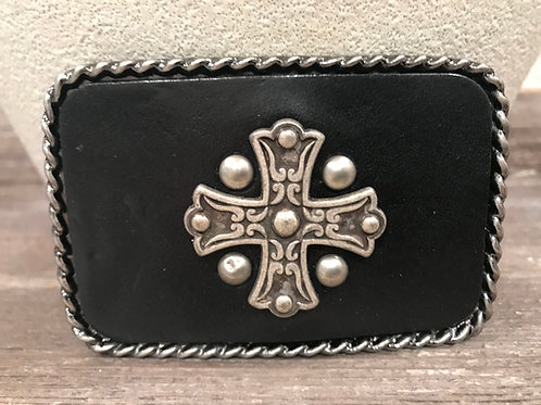 Leather cross belt buckle