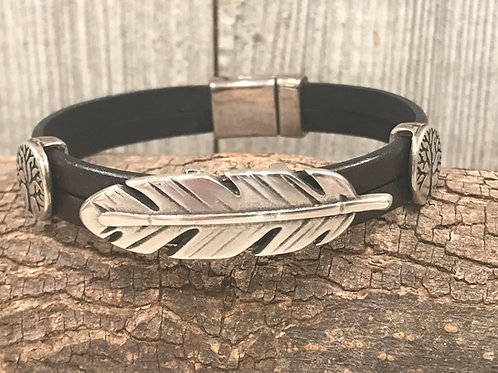 Silver feather and tree of life sliders on leather and magnet clasp