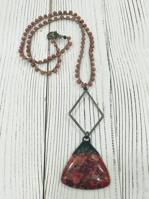 Ruby Crazy Lace Soldered Pendant with Beaded Rosary Chain