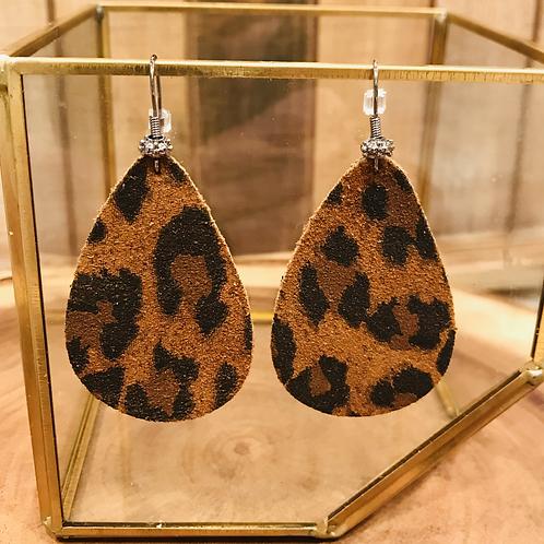 Copper Leopard Print Teardrop Earrings