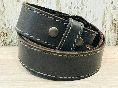 Dark Grey Stitched Leather Belt