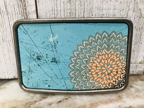 Blue Flower Belt Buckle