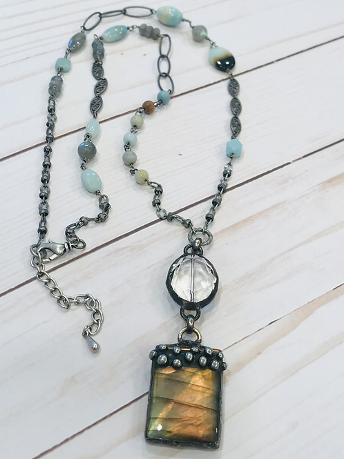 Soldered Dotted Labadorite Pendant with Amanozite Beaded Chain