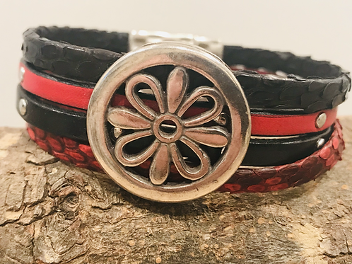 Red and Black Leather/Snakeskin cuff bracelet.