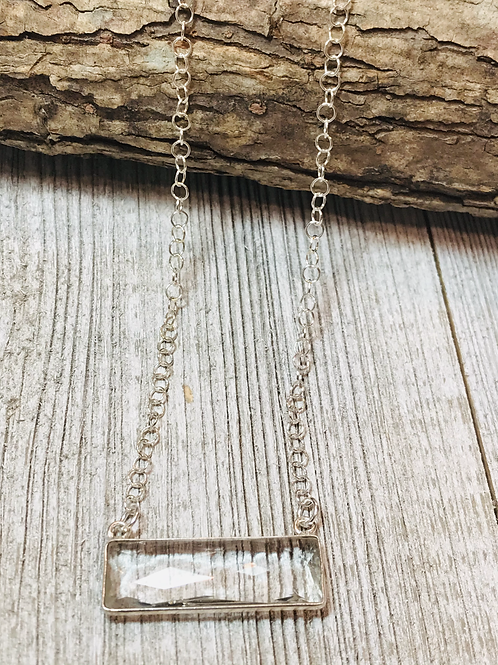 Dainty Clear Crystal Silver Bezeled Bar Necklace