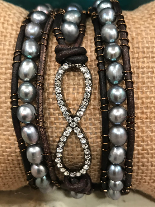 Leather Pearl wrap bracelet with Rhinestone Infinity connector