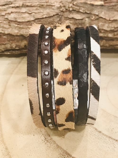 Multi Strand Animal Print Cuff with Magnet Closure