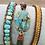 Thumbnail: Mosaic turq & leather multi wrap bracelet with button clasp