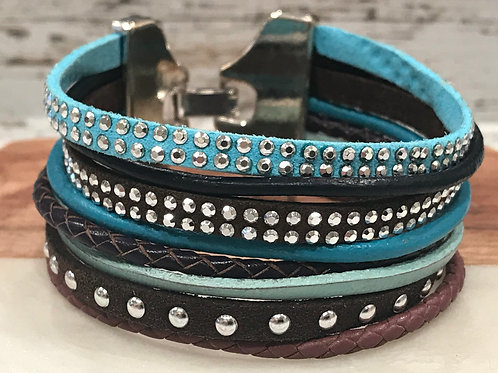 Multi Strand Micro Suede and Leather Strand Bracelet Cuff