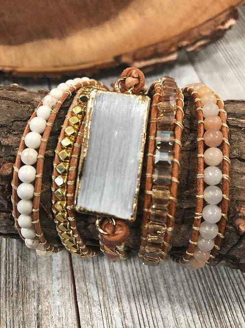 5 Wrap Beaded Selenite Bracelet