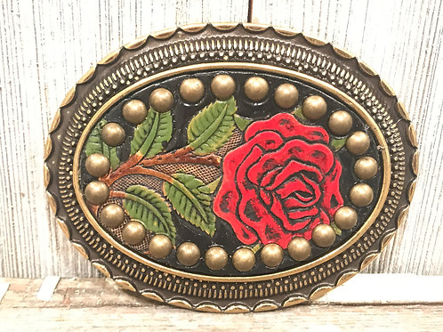 Rose Leather Embossed buckle with Antique Brass studs