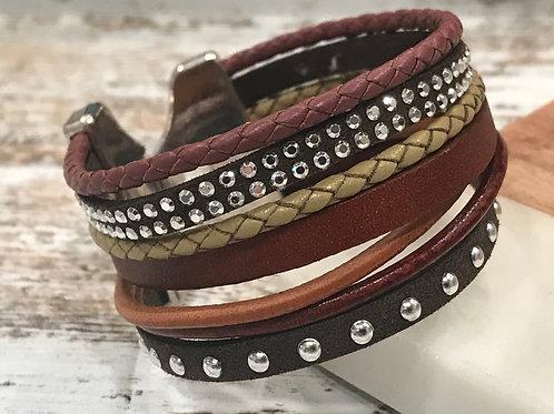 Multi Strand Brown Leather Cuff Bracelet