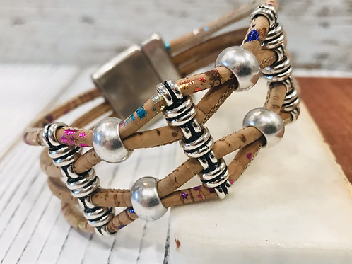 Multi-fleck Portuguese Cork Bracelet with Silver Sliders