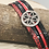 Thumbnail: Red and Black Leather/Snakeskin cuff bracelet.