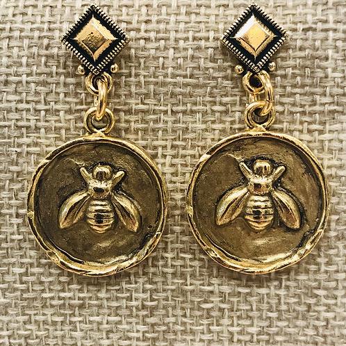 Gold Honey Bee Earrings with Diamond Posts