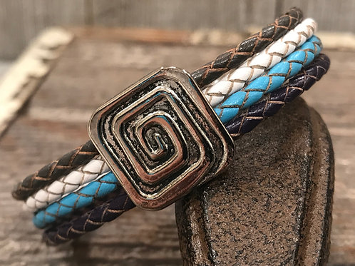 Multi strand bracelet with silver square slider and magnet clasp