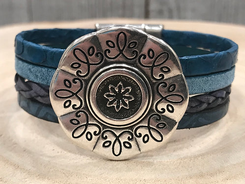 Blue leather strand cuff with Silver flower slider & magnetic clasp