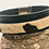 Thumbnail: Black leather cuff with animal print with magnetic clasp