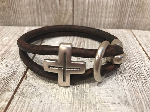 Leather Cross Bracelet - Black or Brown