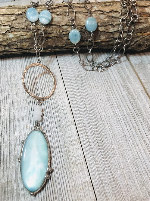 Arctic terra agate pendant with wire wrapped white jade Amazonite beads
