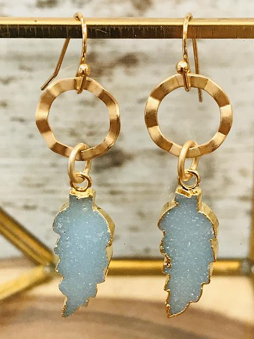 Gold Bezeled Light Blue Druzy Feather Earring