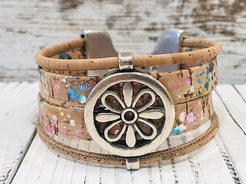 Speckled Portuguese Cork Bracelet with Silver Flower Bar Slider